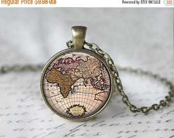SUMMER SALE Map Necklace - World Map Jewelry - Globe Necklace - World Globe Pendant - Globe Charm - Gifts for Travelers - Glass Necklace (62