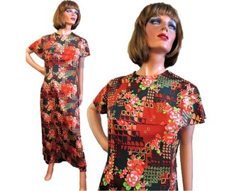 Vintage 60s 70s Maxi Dress, Parkshire Original, Red Orange Dark Green Floral Geometric Print, Cape Collar, Long Dress, Polyester knit