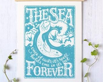 The Sea Nautical Seaside Print   Sea Print   Surfing Print   Sailing Print   Ocean Print   Beach theme   Nautical theme   Seaside Print  