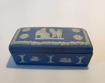 Wedgewood Trinket Box / Vintage Jasperware Blue Trinket Box