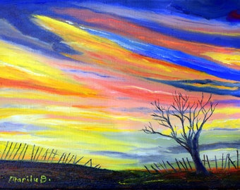 Gone with the Wind original Oil Painting, Oil on stretched canvas, tree, fence, storm
