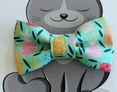 Pineapple Bow Tie for Pets, Cat Bowtie, Dog Clothing, Slide on Collar Accessory, Collar NOT included, Mint Green, Pastels, Tropical, Summer