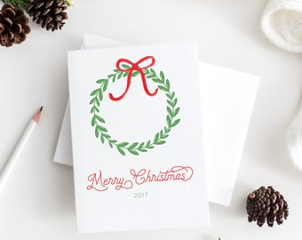 christmas wreath christmas cards - watercolor christmas cards set - minimalist christmas cards - minimalist watercolor christmas cards