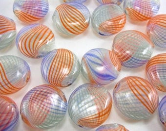 10 Pcs Handmade Blown Glass Flat Round Colorful Beads 22mm Diameter, 2mm Hole B021