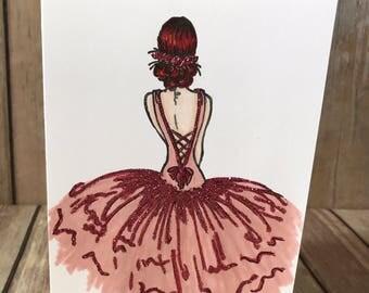 Beautiful Ballerina Handmade Cards - Set of 3, Ballet, Prima Ballerina, Unique, Glitter