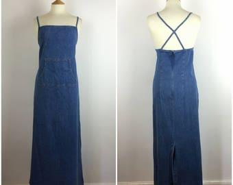 Vintage 1990s Denim Dress - 90s Blue Long Maxi Summer Dress -Strappy Back - Diamante detail - Minimal style - Large - UK 16 / US 12 / EU 44