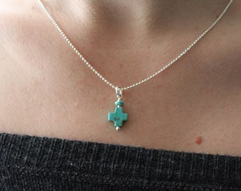 Turquoise cross necklace 14k gold filled or sterling silver necklace genuine turquoise simple turquoise necklace spiritual faith jewelry