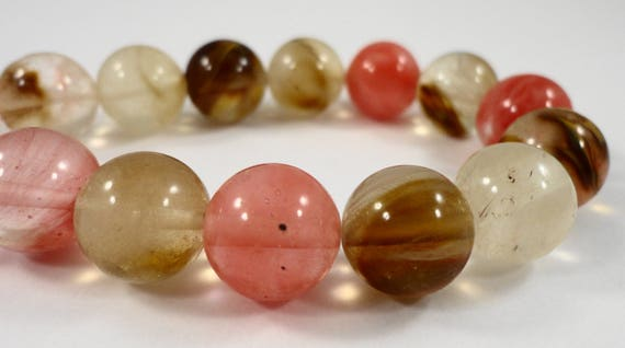 "12mm Watermelon Tourmaline Quartz Beads, 12mm Round Gemstone Beads, Multi Color Stone Beads on a 7 1/2"" Inch Strand with 16 Beads"