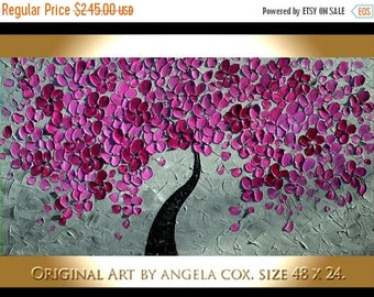 SALE Original Modern  Pink Plum Gray Tree Impasto Acrylic Abstract Palette Knife  Painting .  Made2Order.  Size  48 x 24