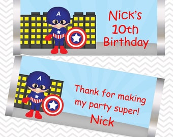 Captain America - Superhero - Personalized Candy Bar Wrapper, Birthday, Baby Shower