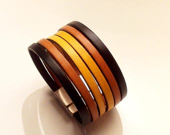 cuff black camel mustard yellow leather with silver zamak magnetic clasp