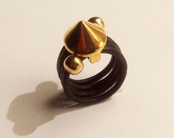 leather ring black little picon zamak gold plated
