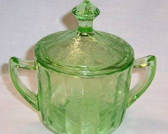 Jeannette Depression Green FLORAL POINSETTIA Sugar Bowl with Lid
