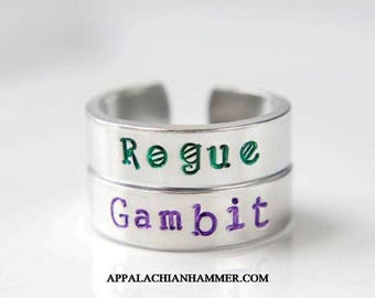 Rogue or Gambit Inspired Hand Stamped Adjustable Rings