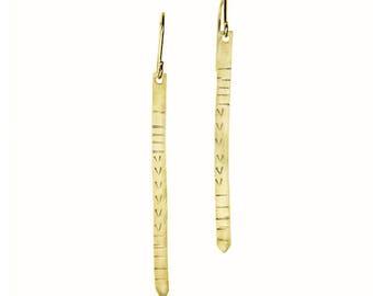 Minimal Long Hammered Brass Bar Earrings