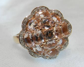 Morganite Ring 14K Diamond Morganite Engagement Ring Rose Gold Diamond Halo Ring Vintage Engagement Ring Gift for Her Holiday