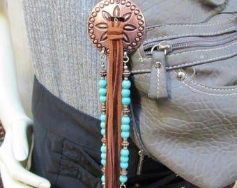 Concho purse dangle zipper pull