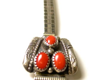 Sterling Silver Native American Coral Watch Band - Weight 22 Grams - Silver Band Hallmarked # 154