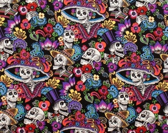 Alexander Henry Folklorico Collection Catrina Chiquita on Black 8205/B Day of the Dead by the Yard