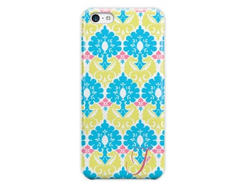 Damask phone case, Blue and yellow with pink, Fashion accessory for her, Fits iPhone 4/4s 5/5s 6/6s 7 8 5c SE X and Plus (1782)