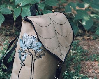 Lily Embroidered Bag,Leaf Mini Backpack,Paisley design,Novelty Bag, Small Bag, Toddler Backpack, Waterproof Bag, Leaf Bag, Festival Bag