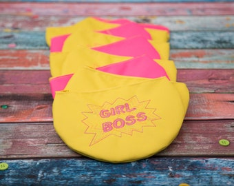 Girl Boss Embroidered Zipper Pouch in Yellow