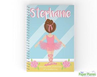 Personalized Ballerina Journal, Kids Notebook, Kids Sketchbook
