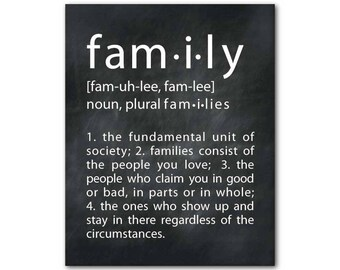 Family Wall Art - What is Family Inspirational Print - typography wall decor - Family Definition -housewarming gift - gift under 20