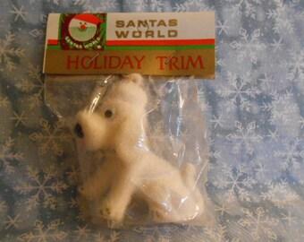 Vintage Flocked White  Poodle Ornament-Still In Bag - Santas World Holiday Trim - Kurt Adler