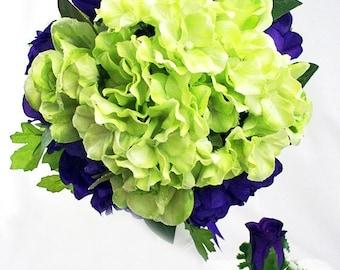 Purple and lime green wedding bouquets, Purple green bridal bouquets, Wedding flowers hydrangea, Dark light lavender mint