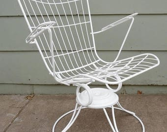 ON SALE Homecrest, Eames Era, Metal, Wire, Chair, White, High