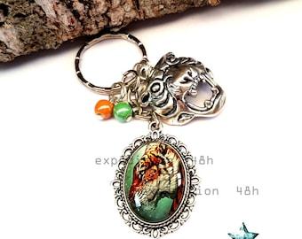 Door keys, Tiger, animal, Savannah, Bohemian, ethnic, boho jewel cabochon, toho