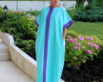 SALE ON 20 % OFF Mint Maxi Dress, Cotton Knit Caftan Dress, Plus Size Dress, Abaya Dress, Plus Size Clothing, Sizes S , M , L