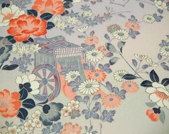Kyo Yuzen Floral Gosho Guruma Vintage Japanese chirimen silk kimono fabric