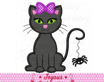 Instant Download Halloween Cat For Girls Applique Embroidery Design NO:2387