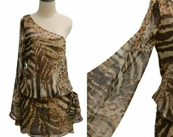 90s Boho Dress - Marciano Animal Print Off Shoulder Party Dress