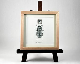 Beetle / Original Ink Painting with Glass and Tarnished Silver Leaf
