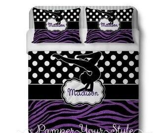 Back to School Sale Gymnastics Comforter or Duvet with Matching Sham(s) - Personalized Gymnastics Polka Dot and Zebra Bedding - Glitter Zebr
