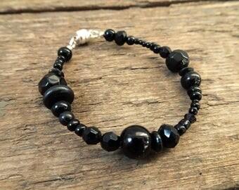Black bracelet, beaded bracelet, black bead bracelet, gift for her, boho jewelry, boho bracelet, black jewelry, womens bracelet, black
