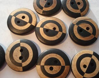 23mm Wooden Sewing Buttons, 2-Hole Round Black Stripe Patterned Buttons, Pack of 25 Wooden Buttons, W2309