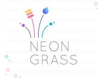 OOAK Premade Logo Design - Neon Grass - Perfect for a marketing agency or a handmade miniatures shop