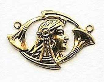 Art Nouveau Egyptian Girl Connectors in the Revival Style - Raw Brass - 29.5x20mmx X2