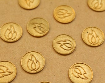 4 pc. Raw Brass Flame Coin Stampings: 15mm diameter- made in USA | RB-947