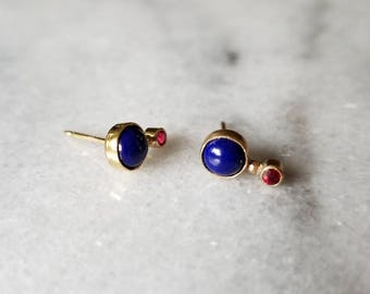 Unique 14k gold lapis lazuli and ruby orbit earrings