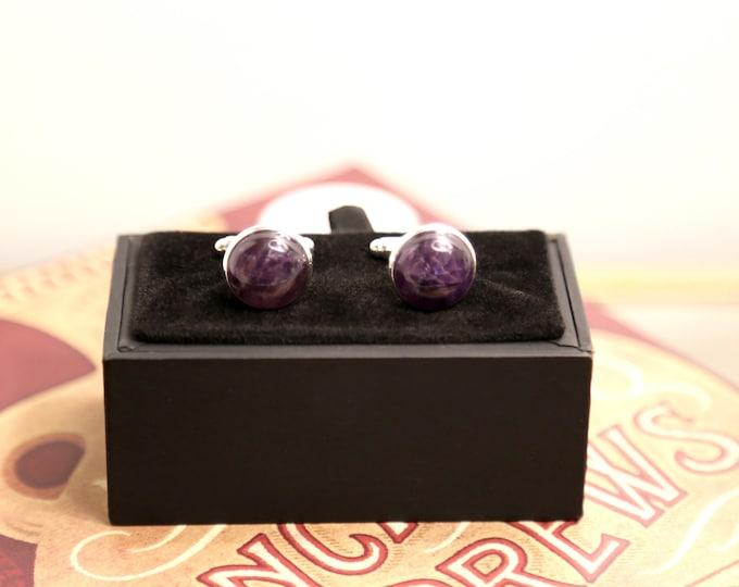 Amethyst Cufflinks--Purple Cufflinks--Amethyst Cuff Links