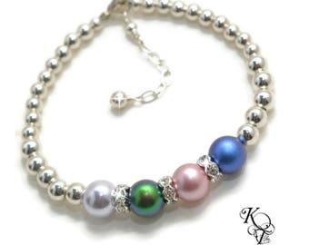 Sterling Silver Birthstone Bracelet - Mother Bracelet with Birthstones - Mothers Jewelry Bracelets - Family Bracelet - Mom Gifts