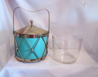 Vintage drum, Mid century ice bucket / Vintage Ice bucket Drum, Mid century