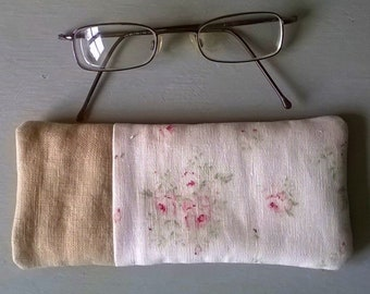 White Linen with Pale Pink Roses Glass Case with Natural Linen Specs Case /Glasses Case