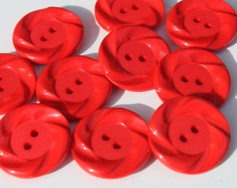 """Vintage Red Plastic Round Buttons, Swirled Craft Sewing Button,  A lot of 10, 7/8"""" Buttons"""