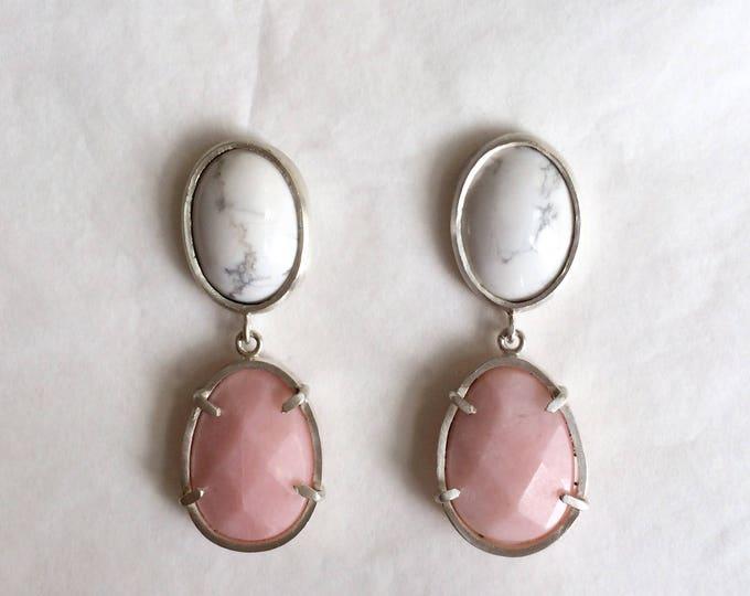 Pink opal - howlite - earrings - silver 925 - one of a kind handmade jewelry - summer earrings